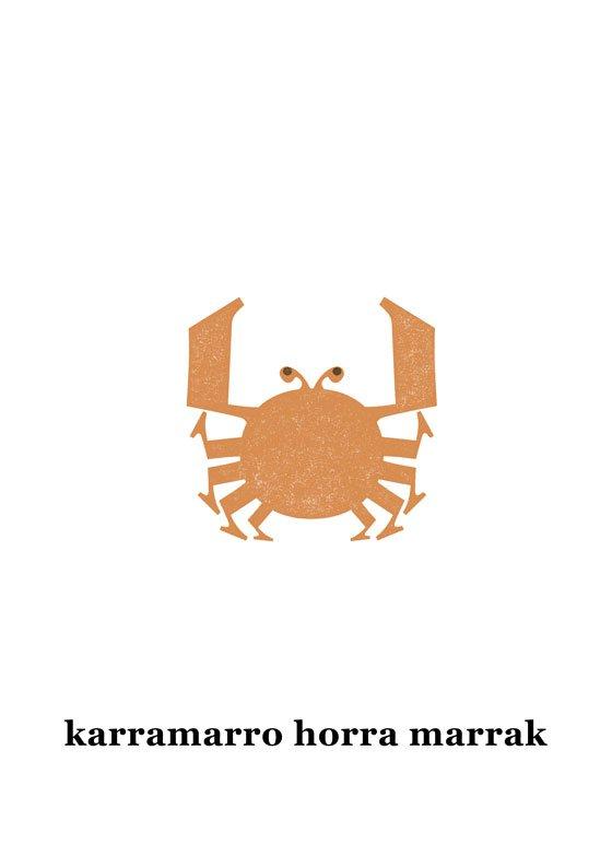 Palindromoak euskaraz Abere ba palindromo ilustratuen piztegia liburuko karramarro ilustrazioa - bigara